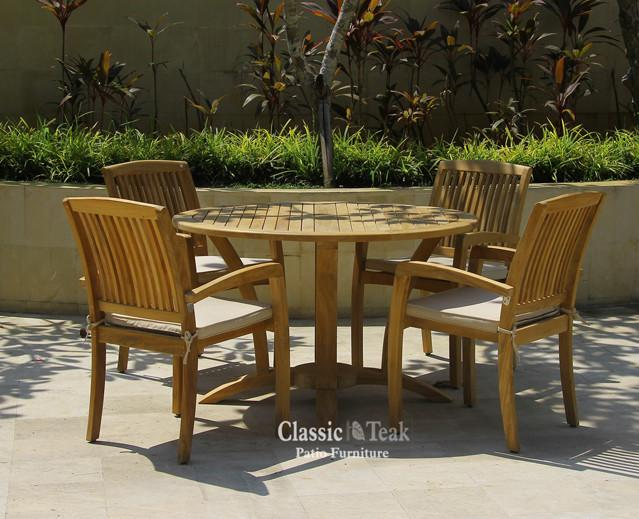 "Teak Deluxe Round Table 48"" - Toms Outdoor Furniture"