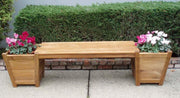 Teak Planter Bench with 2 door planters - Toms Outdoor Furniture