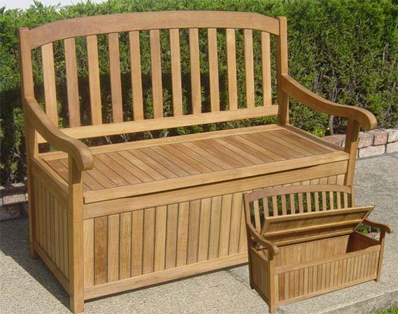 Teak Storage Bench 4 ft - Toms Outdoor Furniture