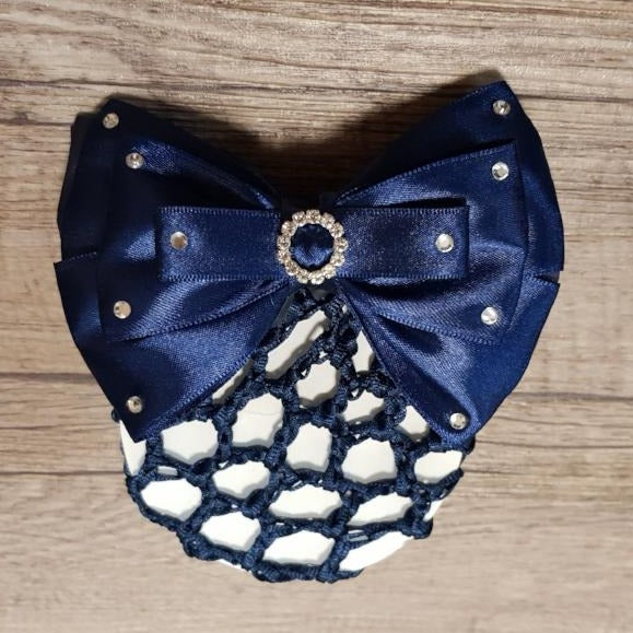 Diamante Show Bow with Hair Net Navy