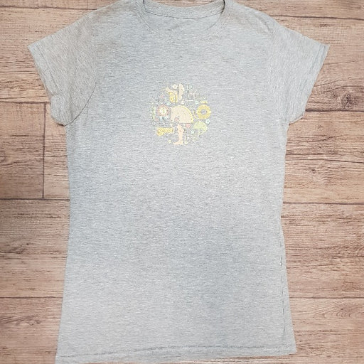 Ladies Designer Fitted T-Shirt Heather Grey Equestrian