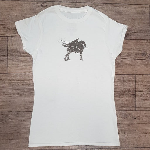 Ladies Fitted Designer T-Shirt White Mythical Horse