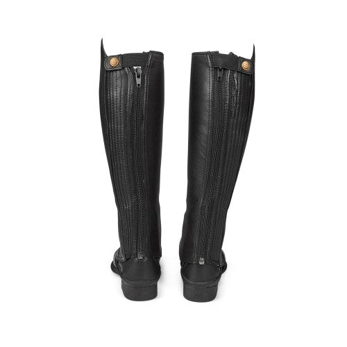 Cow Leather Gaiters with Curved Zip