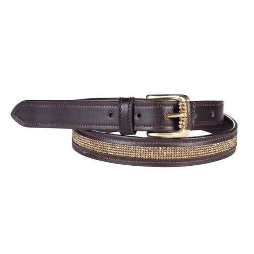 Narrow Crystal Leather Belt