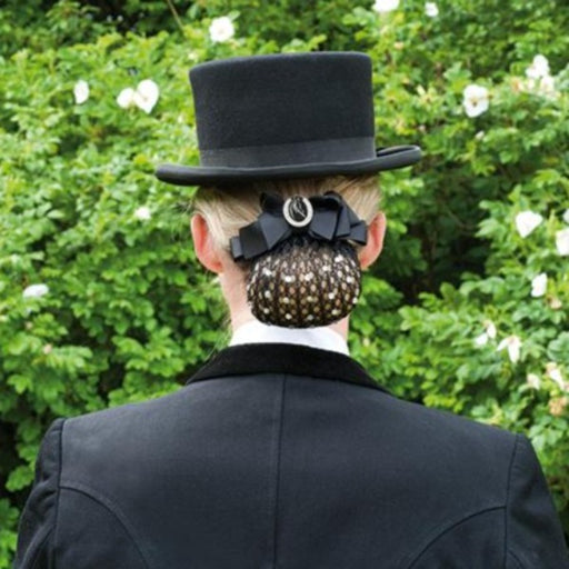 Hair Net With Diamante And Broch - Black