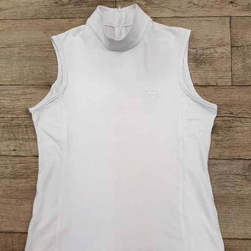 Ladies Lycra Sleeveless Show Shirt White