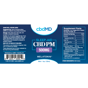 CbdMD 500MG sleep aid w/ Melatonin - Elevated Wellness LLC