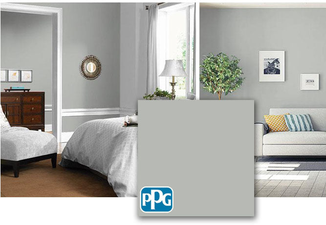 PPG1009-4 Gray Stone in a bedroom and living room.