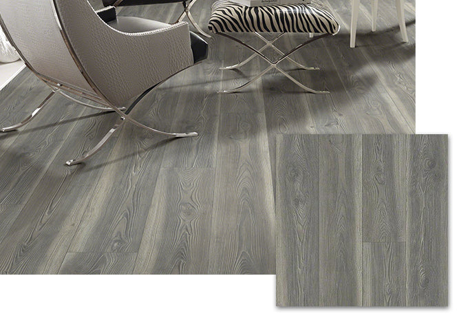 A floor with Shaw anthem plus laminate flooring in California Drmn.