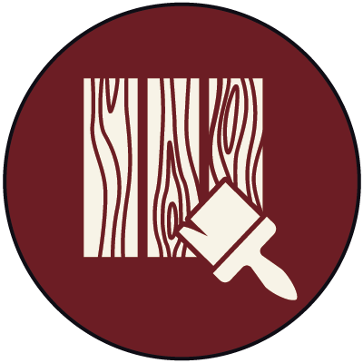 Icon of wood and an exterior stain brush