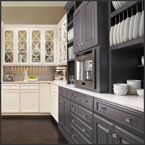 Beige and dark grey kitchen cabinets in a kitchen designed by Interiors by Modern Design, at Standard Paint & Flooring in West Valley Yakima.