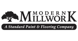 black horizontal logo of Modern Millwork A Standard Paint & flooring Company