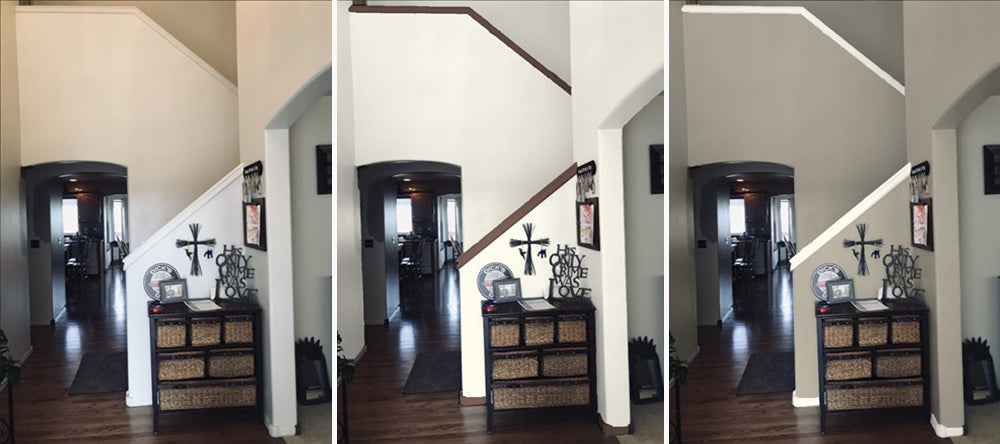 Before and after photos of walls and trim showing different paint colors that have been added virtually, by Standard Paint & Flooring color consultations.