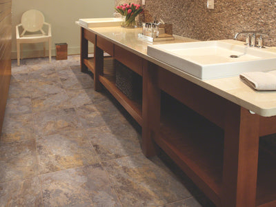 Room Image of Shaw Floors Resort Tile Resilient Residential Unit flooring in the color Walnut                         available at Standard Paint and Flooring.