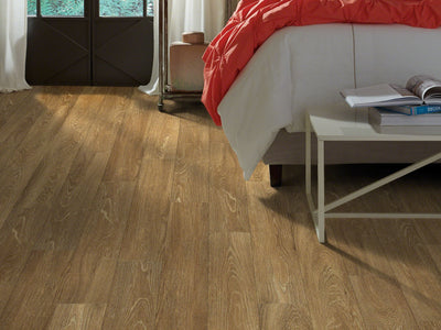 Room Image of Shaw Floors Sustain 12 Mil Resilient Residential Unit flooring in the color Farro available at Standard Paint and Flooring.