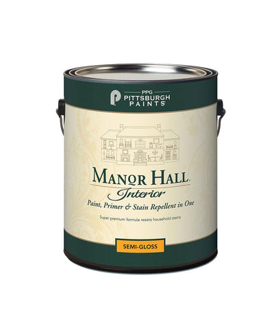 Manor Hall Interior Latex Paint in semi-gloss sheen. Buy at Standard Paint & Flooring.
