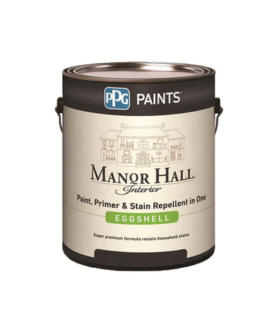 Manor Hall Interior Latex Paint in eggshell sheen. Buy at Standard Paint & Flooring.