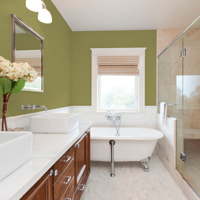 FLLW144 Wright Autumn Green PPG Paint Color in a bathroom Standard Paint & Flooring