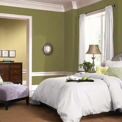 FLLW144 Wright Autumn Green PPG Paint Color in a bedroom at Standard Paint & Flooring
