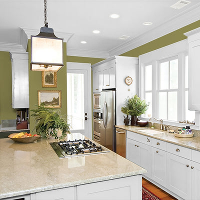 FLLW144 Wright Autumn Green PPG Paint from Standard Paint & Flooring in a kitchen.
