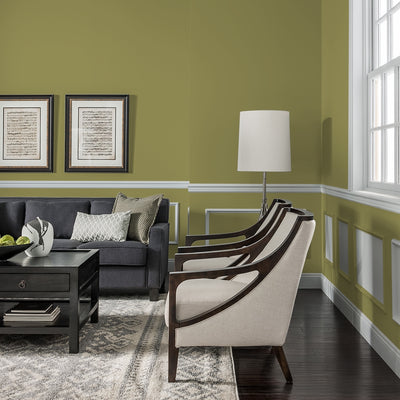 FLLW144 Wright Autumn Green PPG Paint Color in a living room at Standard Paint & Flooring