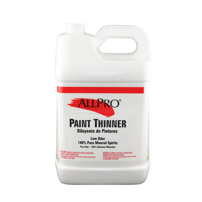 ALLPRO paint thinner 2.5 gallons, available at Standard Paint & Flooring.