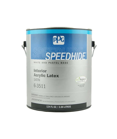 Speedhide Interior latex paint in satin sheen. Buy at Standard Paint & Flooring.
