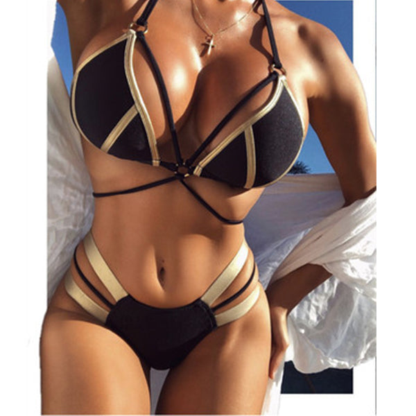Bronzing Stitching Bikini Ladies Swimsuit
