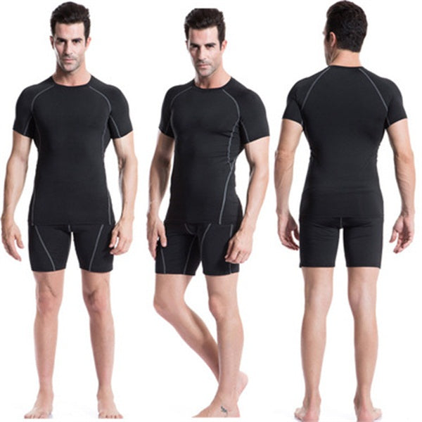 Sport Suits Men Running Training Diving Compression Elastic Tights Set