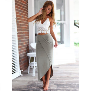 Women's Fashion 2 Piece Irregular Lace Tops and Skirt Set Dress Outfit