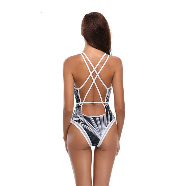 One Piece Print Mesh Backless Swimming Bathing Suit