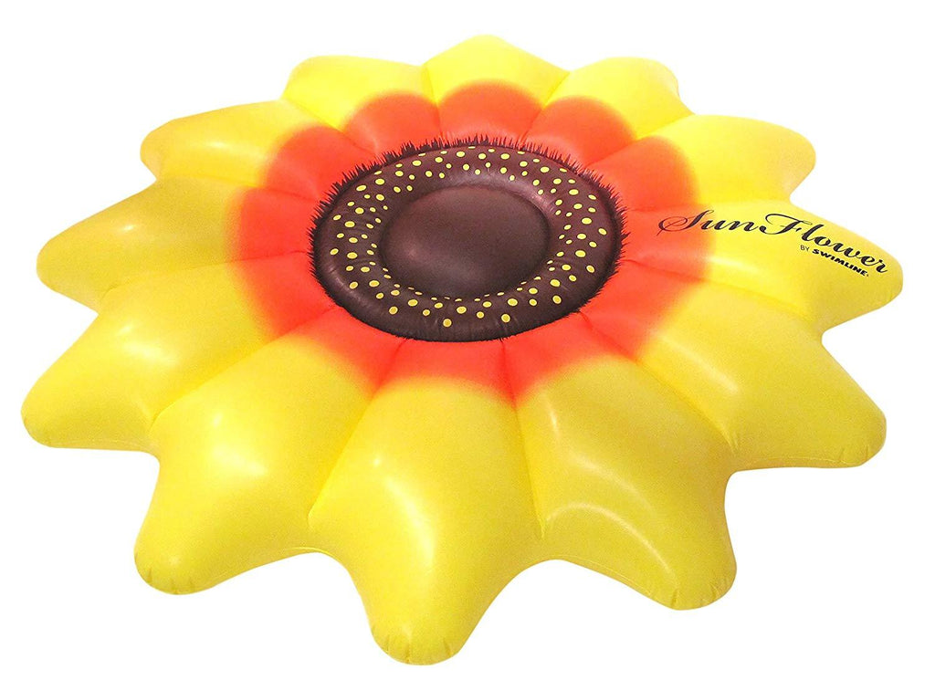 Inflatable sun flower swimming ring floating row