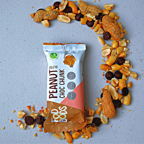 Fodbods Low Fodmap Snackbar. fodmap friendly protein bar. peanut choc chunk