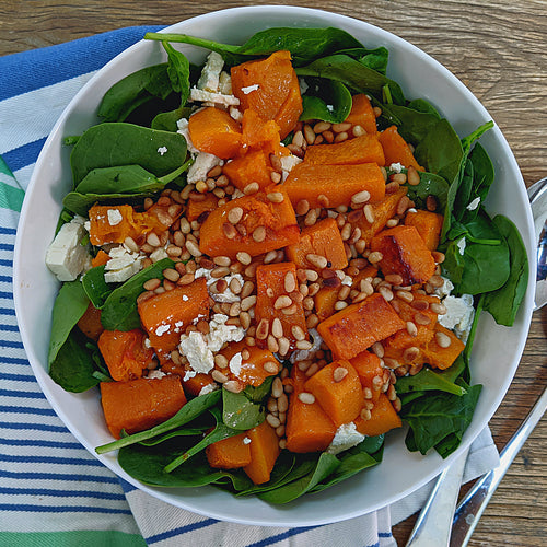 Super Easy Low FODMAP Pumpkin and Feta Salad