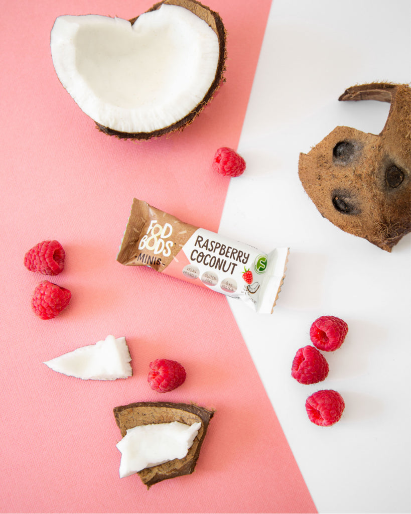 Fodbods Raspberry coconut low FODMAP snack bar. Natural, Vegan, gluten free, protein