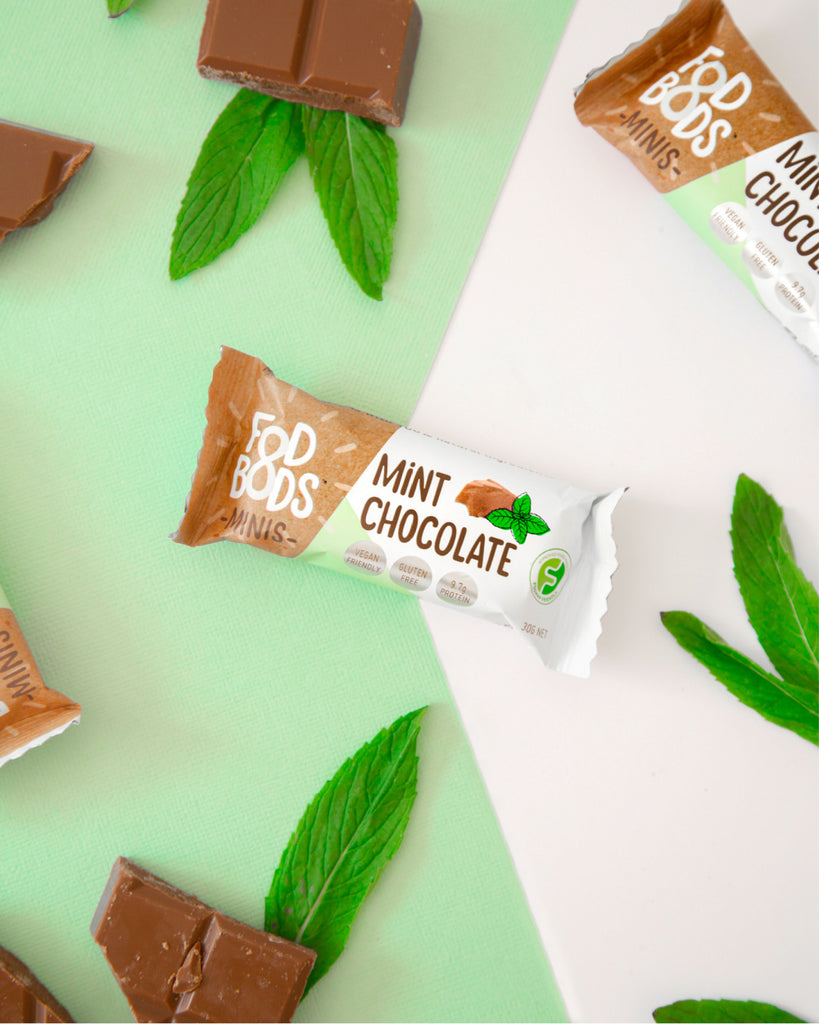 Fodbods mint chocolate low FODMAP snack bar. Natural, vegan, gluten free, protein