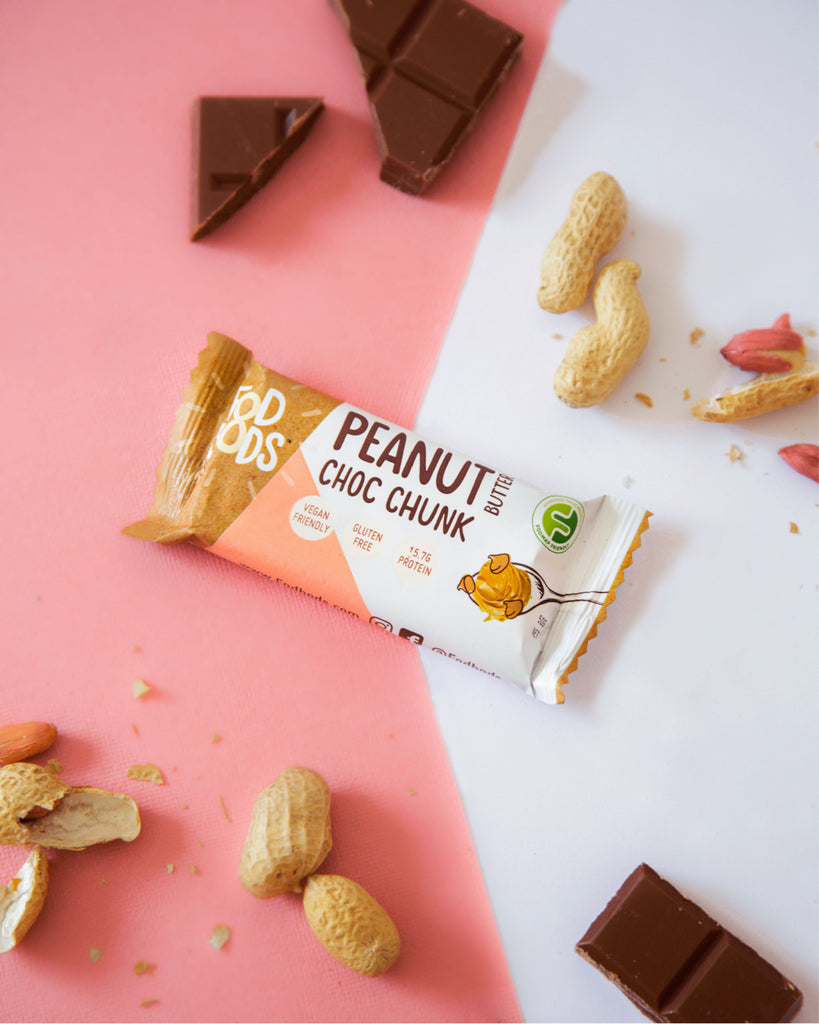 Fodbods Peanut & choc chunk low FODMAP snack bar. Natural,  Vegan, gluten free, high protein.