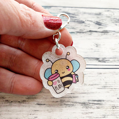 Acrylic Planner Charm - Bee Bop loves to plan