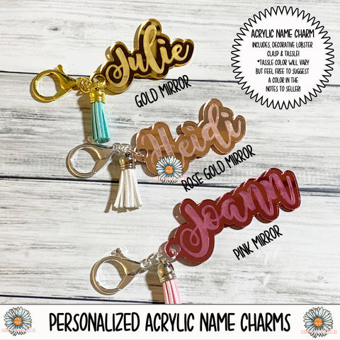 Personalized Mirror Acrylic Name Charms