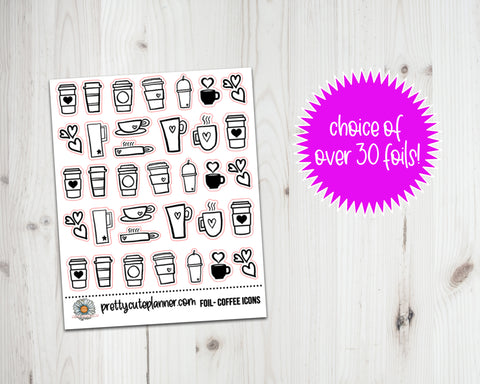 Foil Icon Stickers - Coffee