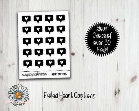 Foil Stickers - Heart Caption Stickers