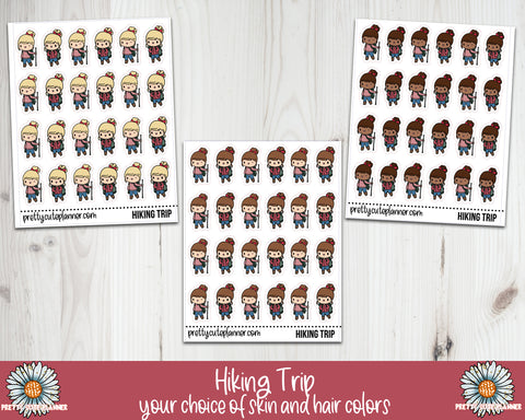 Doodle Girl Hiking Trip Stickers