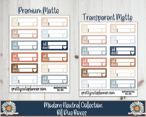 Modern Neutral Functional Bill Due Stickers
