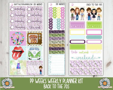 PP061 Weeks Back to the 70s Weekly Planner sticker kit