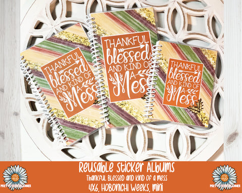 Thankful Blessed and Kind of a Mess Reusable Sticker Album