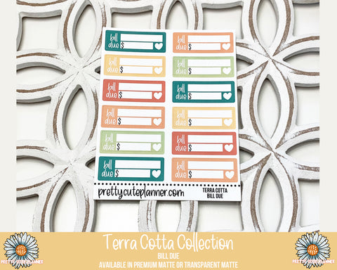 Terra Cotta Functional Stickers - Bill Due