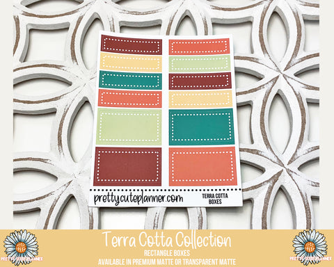 Terra Cotta Functional Stickers - Rectangle Boxes