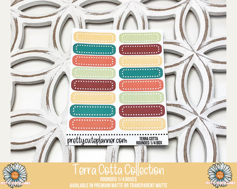 Terra Cotta Functional Stickers - Rounded 1/4 Boxes