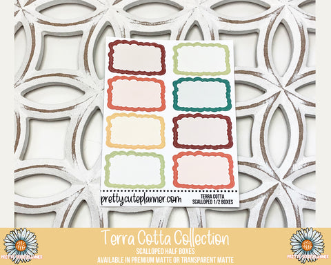 Terra Cotta Functional Stickers - Scalloped Half Boxes