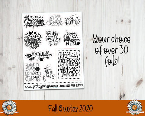 Foil Stickers - Fall Quotes 2020